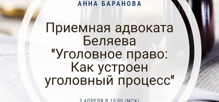 Приемная адвоката Беляева: Уголовное право. Как устроен уголовный процесс.